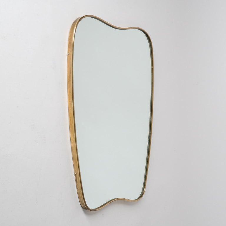 Mid-Century Modern Italian Brass Mirror and Console, circa 1950 For Sale
