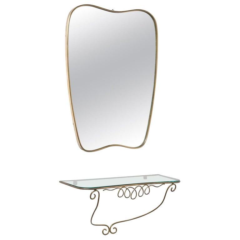 Italian Brass Mirror and Console, circa 1950 For Sale