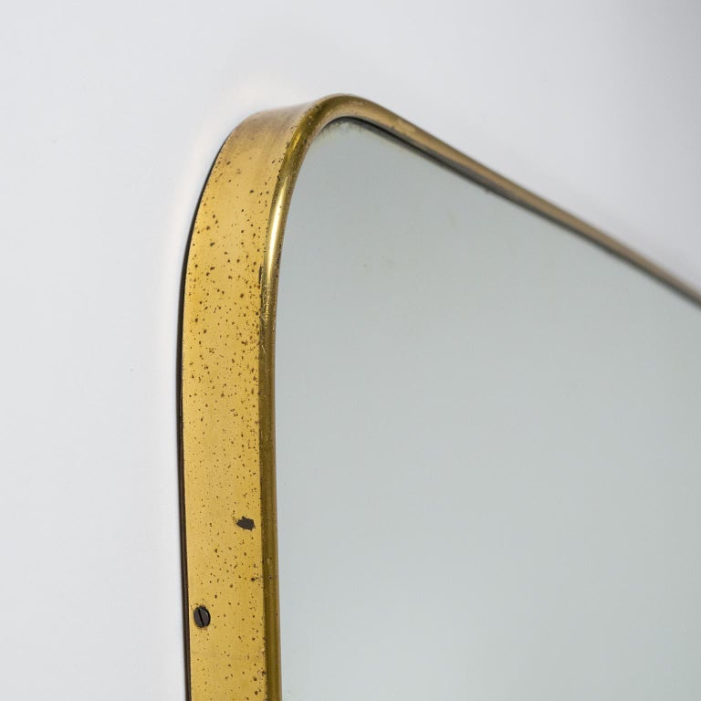 Italian Brass Mirror, circa 1950 In Good Condition For Sale In Vienna, AT