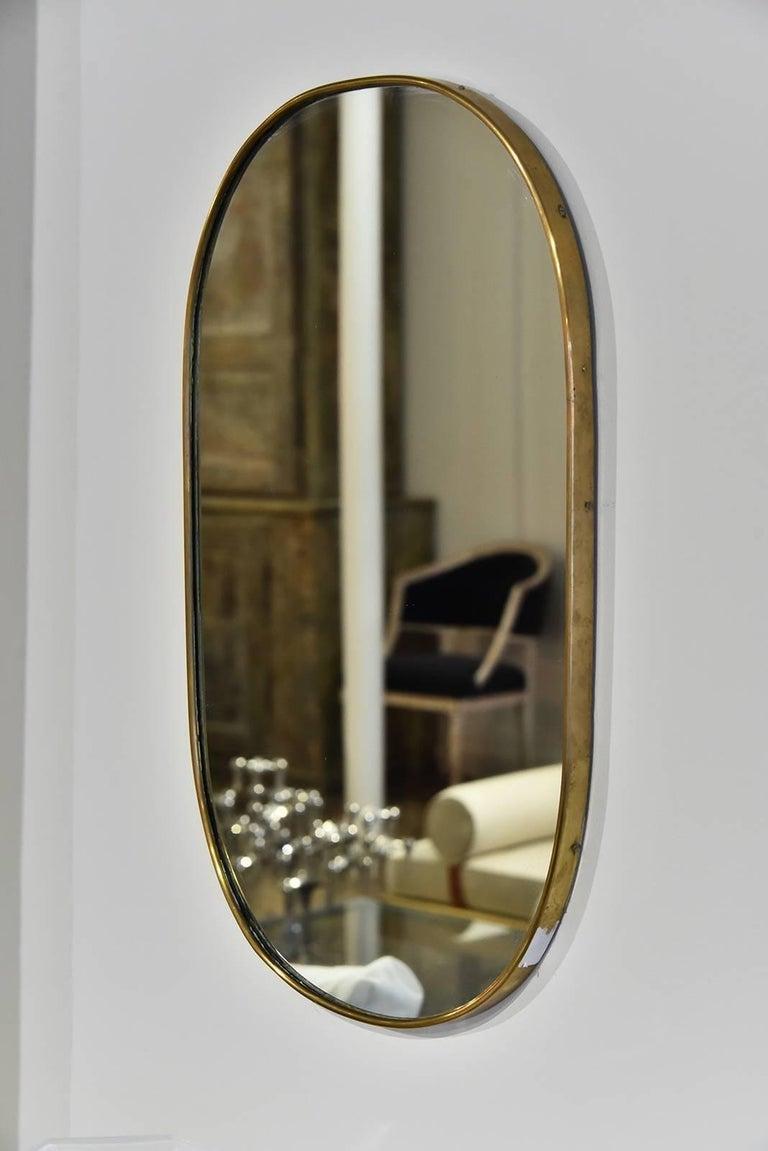 1950s vintage Italian brass mirror.