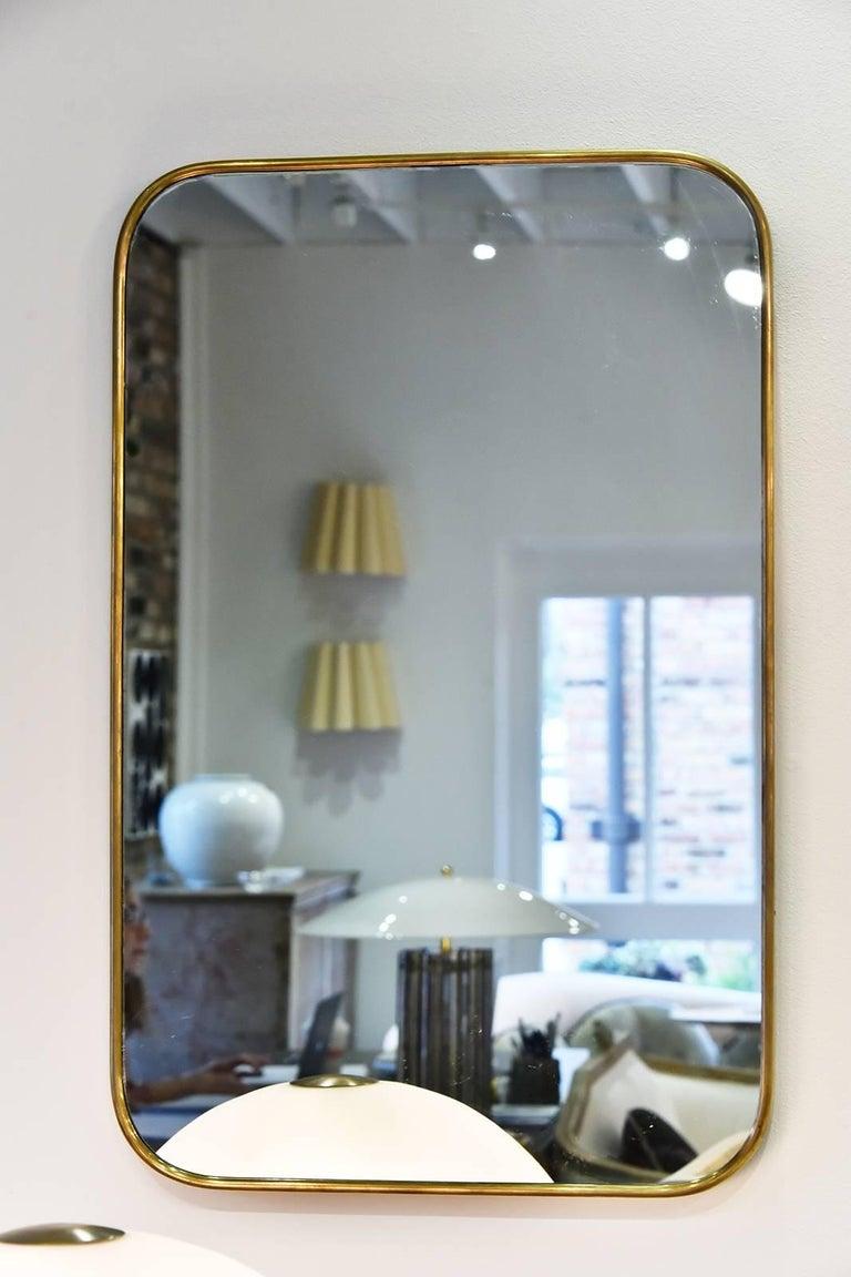 Vintage Italian brass mirror, circa 1960.