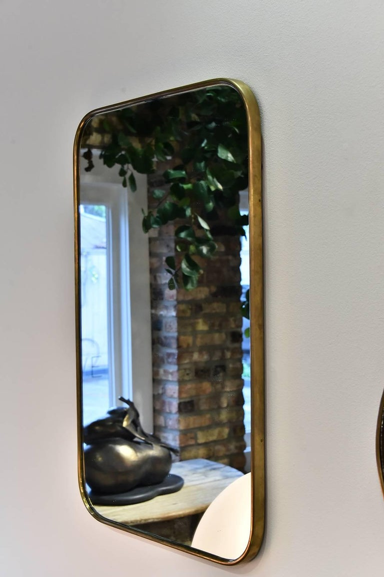Italian Brass Mirror In Good Condition For Sale In Houston, TX