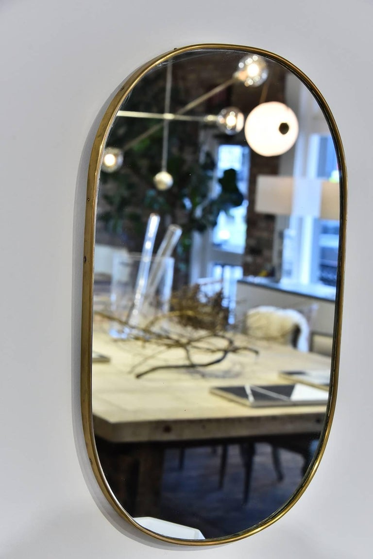 Mid-20th Century Italian Brass Mirror For Sale