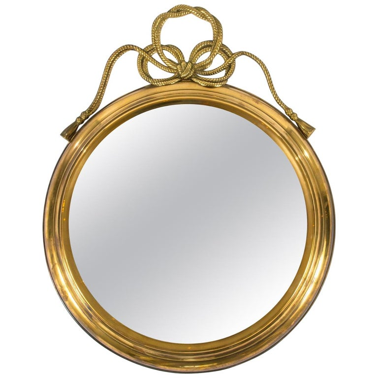 Italian Brass Mirror with Ribbon Bow For Sale