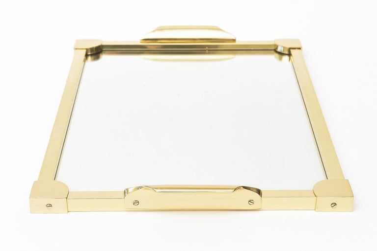 Italian Brass Modernist Tray Serving Tray Barware Mid-Century Modern In Good Condition For Sale In North Miami, FL