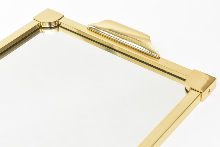 Mid-20th Century Italian Brass Modernist Tray Serving Tray Barware Mid-Century Modern For Sale