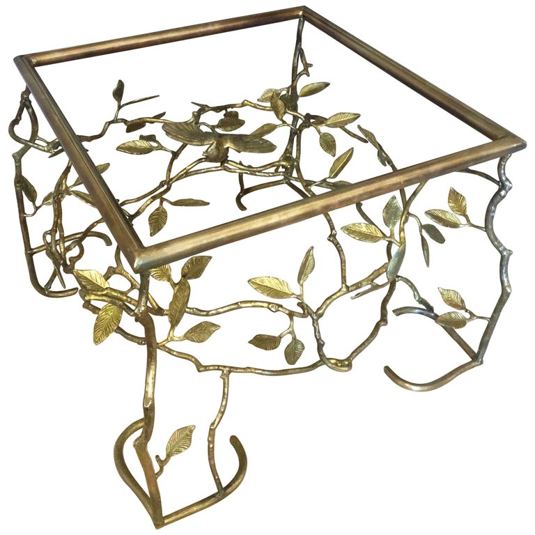 Italian Brass Organic Tree And Bird Cocktail Table For