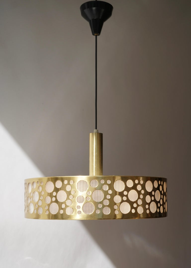Hollywood Regency Italian Brass Pendant Light For Sale