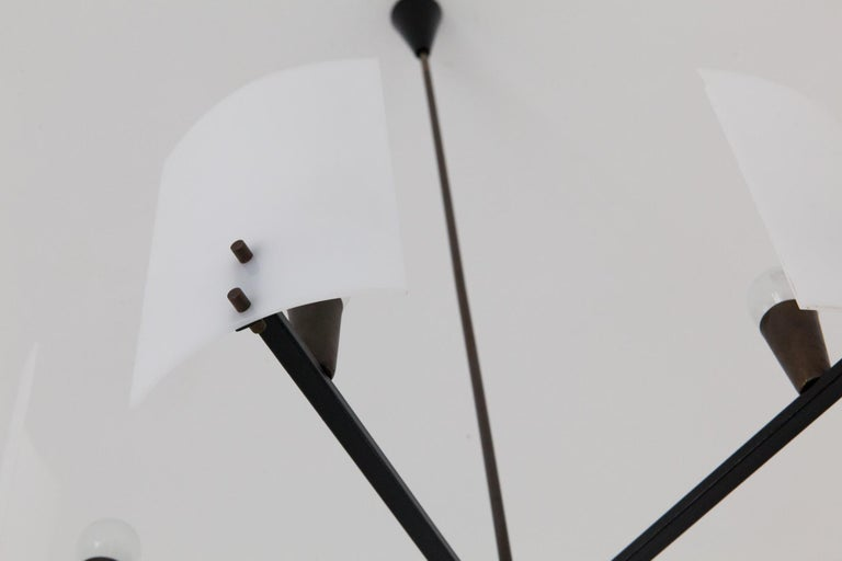 Italian Brass Perspex and black iron Chandelier, 1950s 1