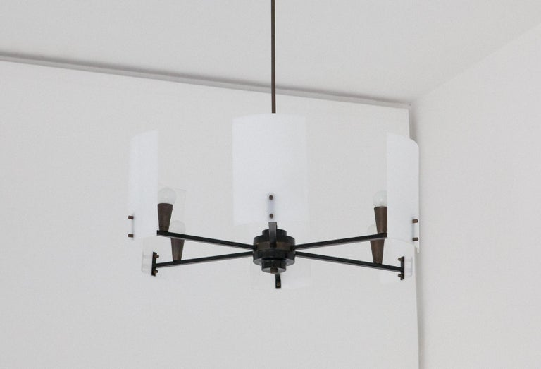 Italian Brass Perspex and black iron Chandelier, 1950s 3
