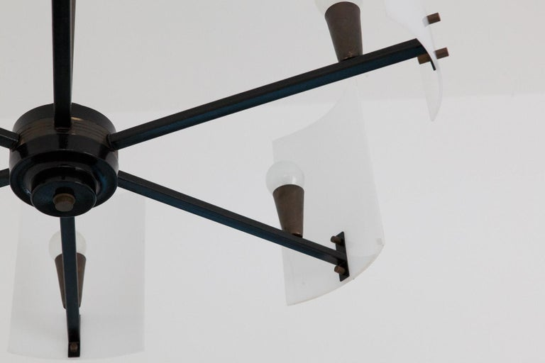 Italian Brass Perspex and black iron Chandelier, 1950s 4