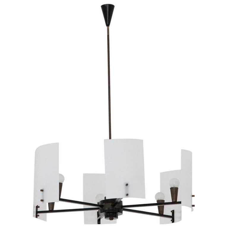 Italian Brass Perspex and black iron Chandelier, 1950s