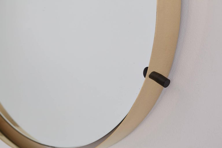 Mid-Century Modern Italian Brass Round Floating Mirror For Sale