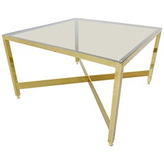 Italian Brass Side Table with Glass Top, 1970s