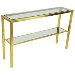 Italian Brass and Smoked Glass 1970s Console with 2 Shelves