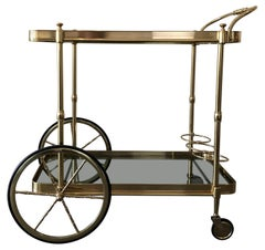 Italian Brass Smokey Grey Glass Two Tiered Bar Cart or Trolley