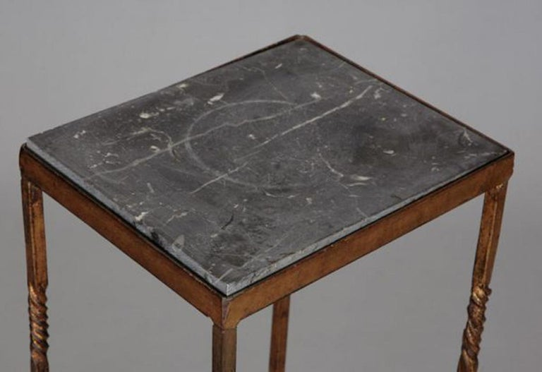 20th Century Italian Brass Statue Stand With Marble Top For Sale