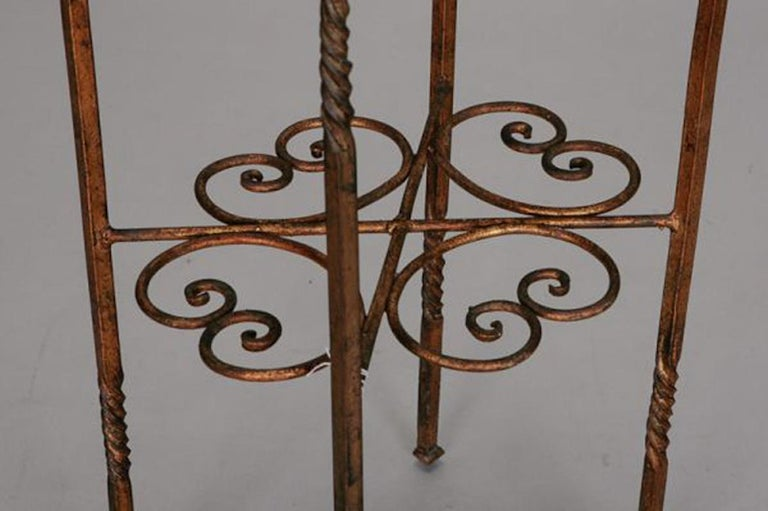 Iron Italian Brass Statue Stand With Marble Top For Sale