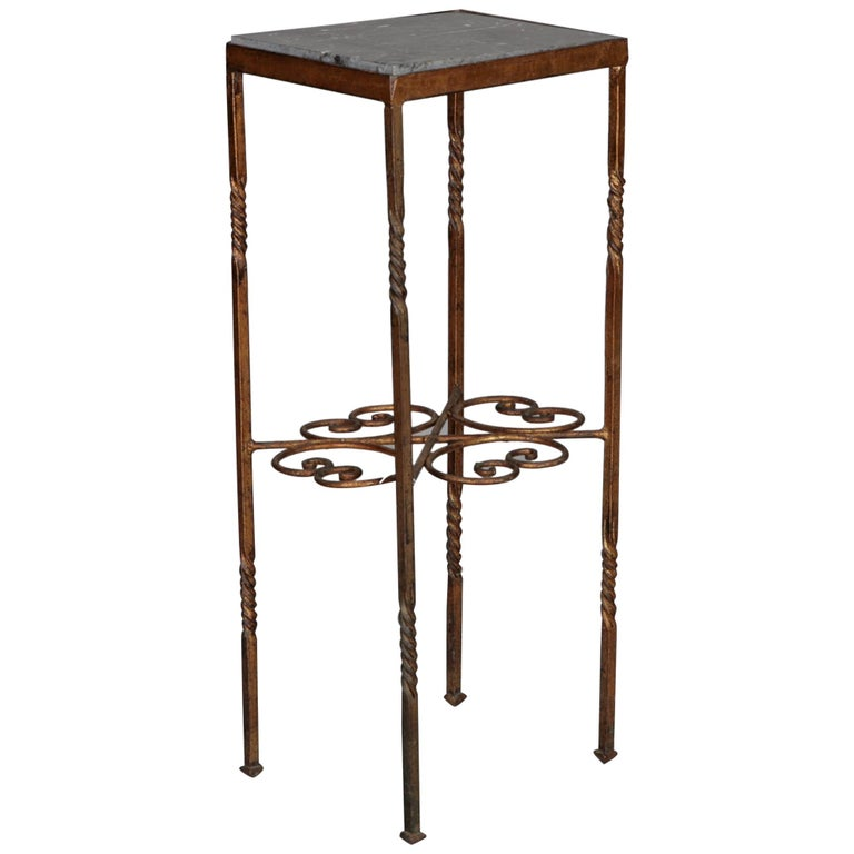 Italian Brass Statue Stand With Marble Top For Sale