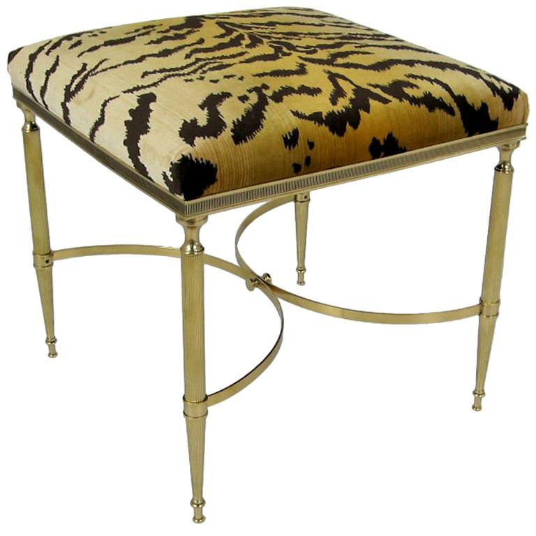 Italian Brass Stool with Scalamandre Le Tigre Upholstery For Sale