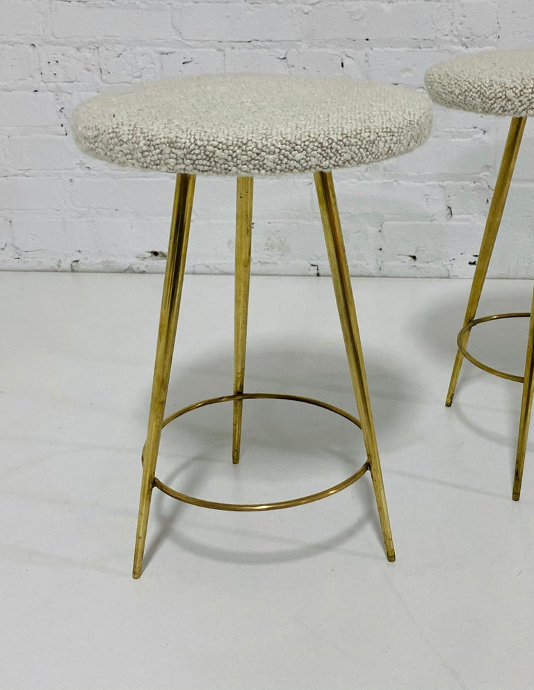 Italian Brass Stools In Good Condition For Sale In Chicago, IL