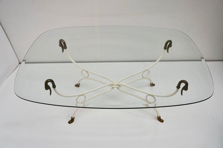 Bronze Italian Brass Swan Coffee Table,1950s For Sale