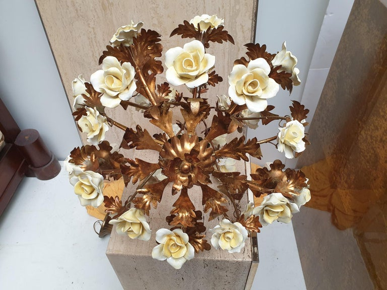 Italian Brass Tole Chandelier with Yellow Porcelain Flowers For Sale 11