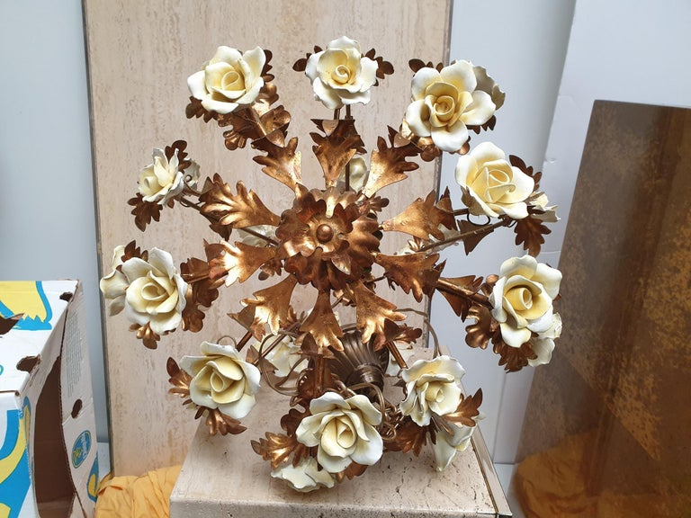 Italian Brass Tole Chandelier with Yellow Porcelain Flowers For Sale 13