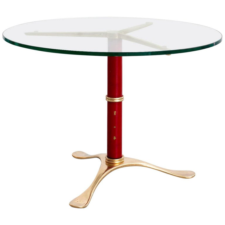 Italian Brass Tripod Table For Sale