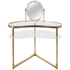 Italienischer Vanity Tisch aus Messing, circa 1950er