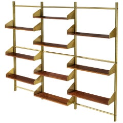 Italian Brassed and Teak Wall Unit by Feal