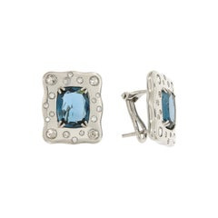 Italian Breathtaking 18k London Blue Topaz Diamonds White Gold Earrings for Her