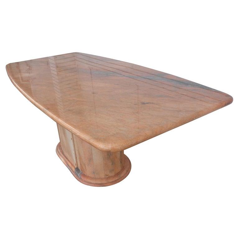 Italian Breccia Oniciata Marble Pedestal Table For Sale