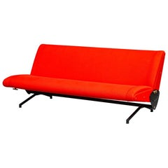 Italian Bright Red Fabric, D70 Sofa by Osvaldo Borsani for Tecno, 1954