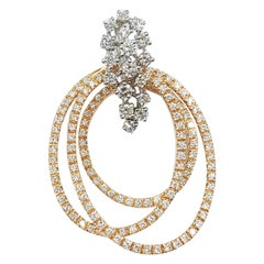 Italian Brilliant Cut Diamond 4.27 Carats 18 Carats Rose White Gold Pendant