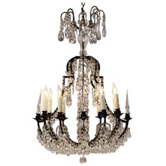 Italian Bronze and Crystal Beaded Chandelier