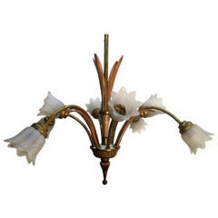 Italian Bronze and Glass Chandelier or Light Fixture