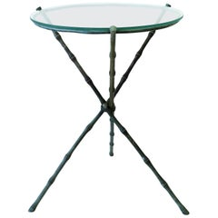 Italian Round Brass Bronze and Glass Tripod Side Table with Bamboo Design