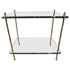 Italian Bronze and Glass Two Tiered Table