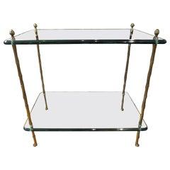 Italienischer Zwei-stufiger Tisch aus Bronze und Glas