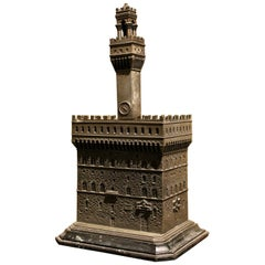 Italian Bronze and Metal Jewelry Box Modeled as Palazzo Vecchio, Florence, 1940s