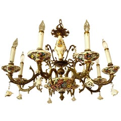 Italian Bronze and Porcelain Neoclassical Chandelier