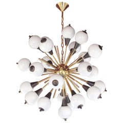Italian Bronze and White Murano 24-Light Contemporary Sputnik Chandelier