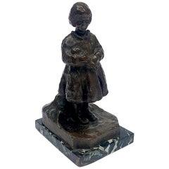 Italian Bronze Child Sculpture Bambole by Zacchetti Renzo 1938 circa