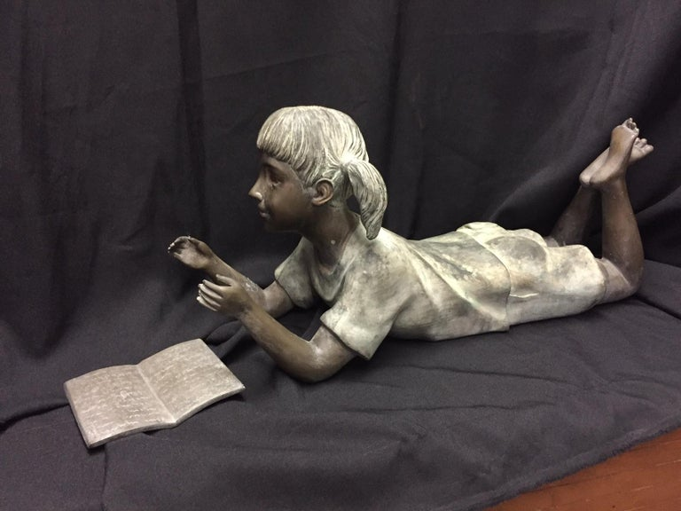 Cast Italian Bronze Figure of a Little Girl For Sale