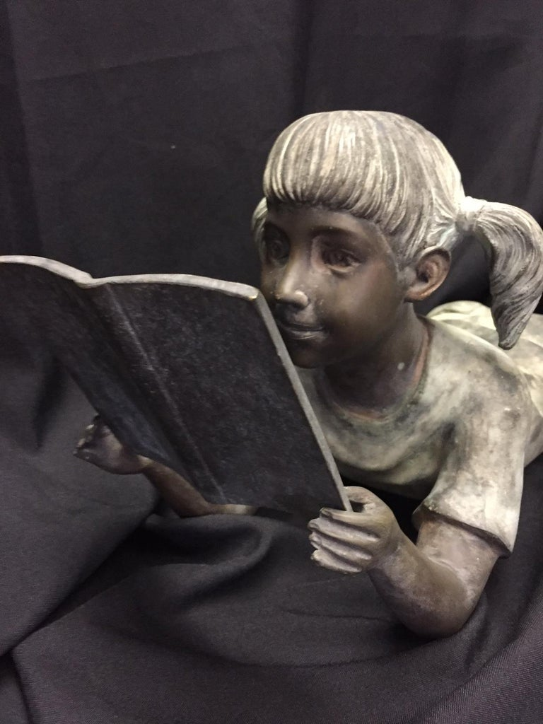Italian Bronze Figure of a Little Girl In Good Condition For Sale In Cypress, CA