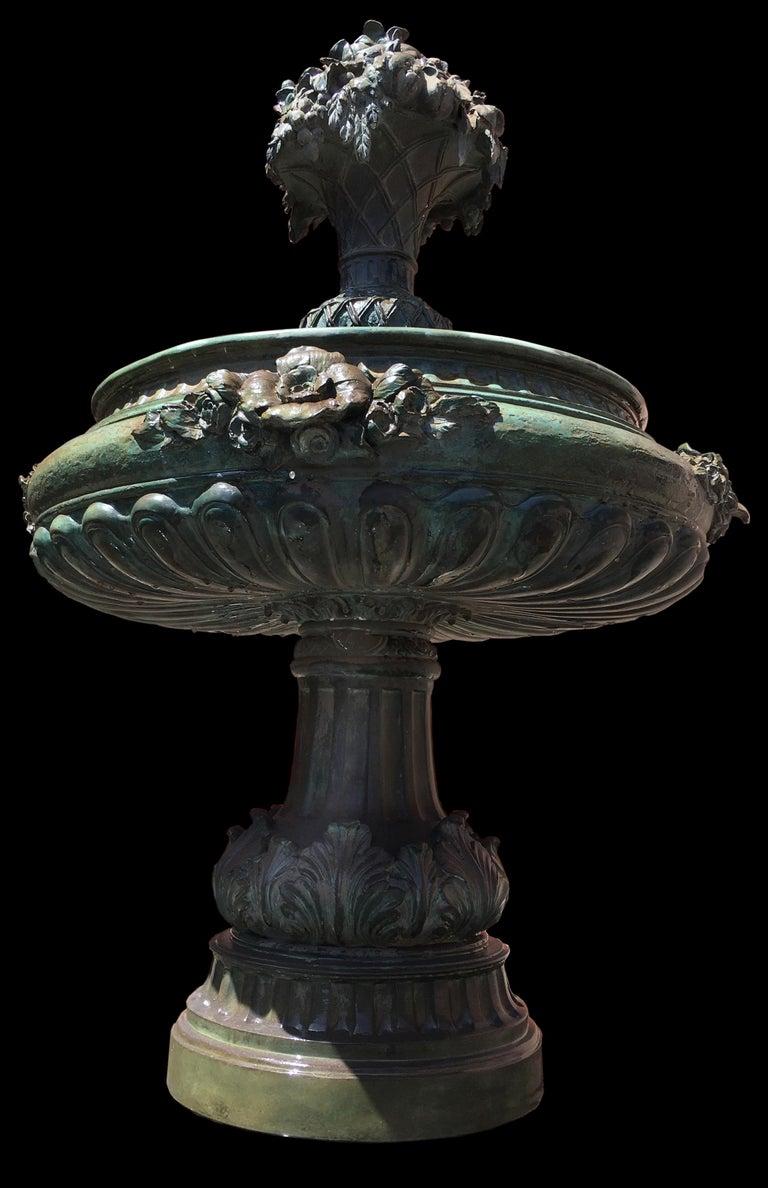 Classical Roman Italian Bronze Fountain For Sale
