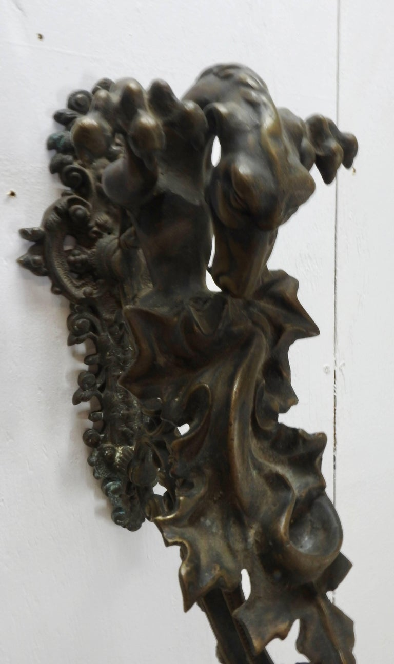 Italian Bronze Gothic Candle Sconces, Pair In Fair Condition For Sale In Cookeville, TN