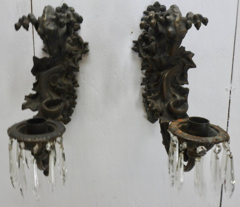 Italian Bronze Gothic Candle Sconces, Pair For Sale 2