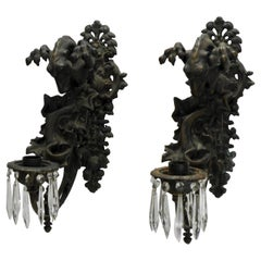 Italian Bronze Gothic Candle Sconces, Pair